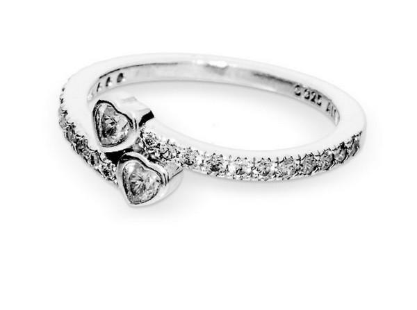 Pandora Two Sparkling Hearts Ring