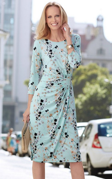 Damart 34 Sleeve Floral Print Dress