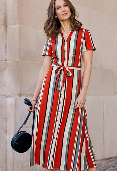 Damart Stripe Midi Dress