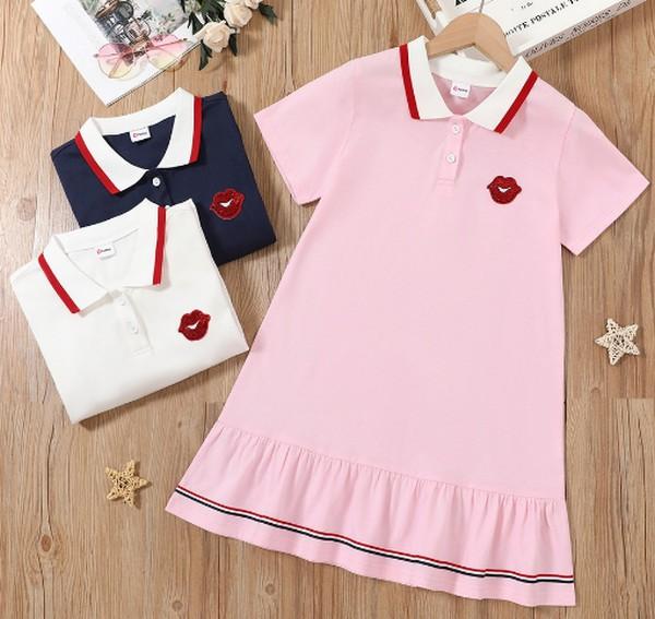PatPat Preppy Style Polo Collar Tunic Dress