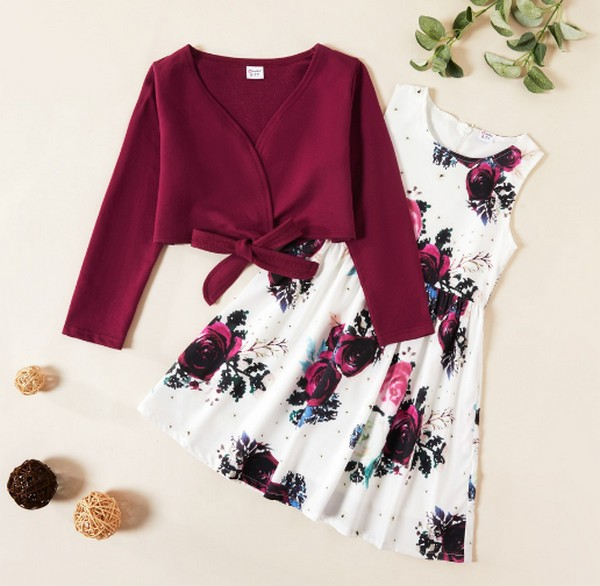 PatPat Solid Bowknot Top and Floral Allover Dress Set