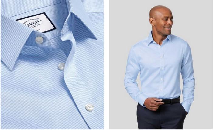 Charles Tyrwhitt Non-Iron Puppytooth Shirt Sky