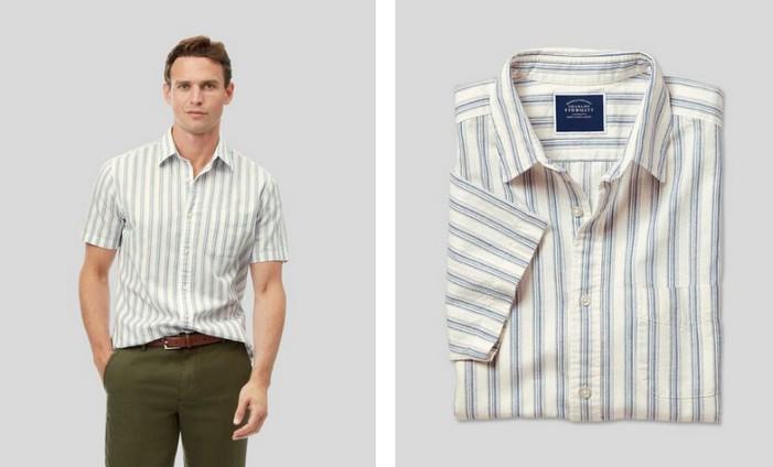Charles Tyrwhitt Cotton Linen Short Sleeve Stripe Shirt